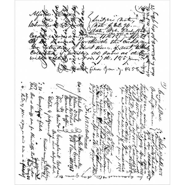"Tim Holtz Cling Stamps 7""X8.5""-Ledger Script"