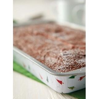 """Bake & Bring Tin Oblong Pans 11""""X7"""" 2/Pkg-Christmas"""