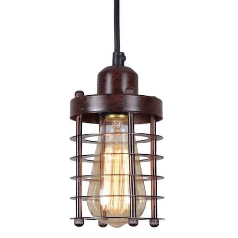Rustic wire cage vintage industrial pendant light fixture