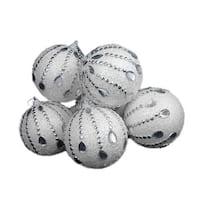 """6 December Diamonds White Glittered Shatterproof Christmas Ball Ornaments 3.75"""""""