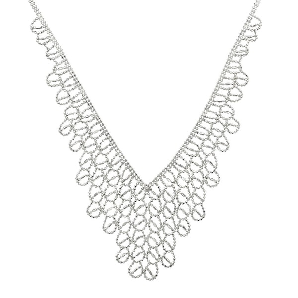 Diamond-Cut Mesh Bib Necklace in Sterling Silver - White