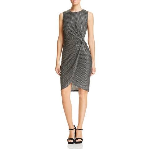 T Tahari Shine Women's Metallic Printed Knot Front Sleeveless Cocktail Dress - Black/Gold