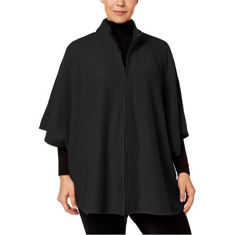 Anne Klein Womens Zip Front Cape Jacket