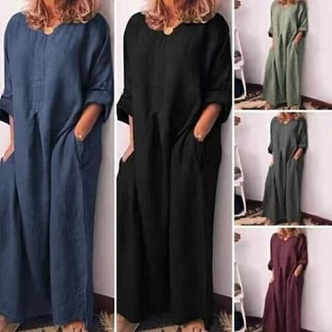 Loose Long-Sleeved Maxi Dress