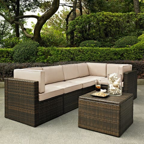 Palm Harbor 6 Piece Outdoor Wicker Seating Set With Sand Cushions