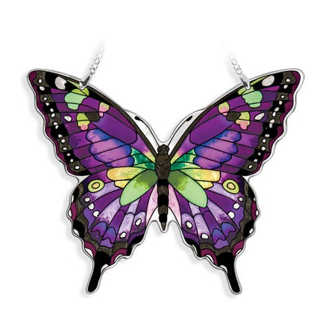 "Purple and Black Swallowtail Butterfly Handcrafted Glass Wall Art Decor 8"" x 6.5"""