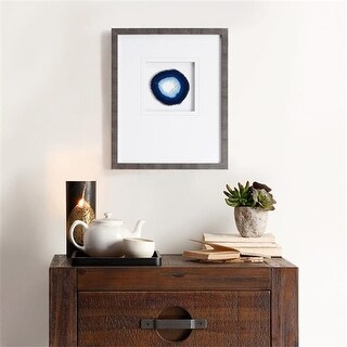 Madison Park Natural Agate Stone Framed Graphic, Blue, 4 in.