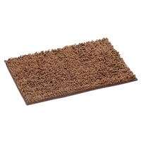 Super Absorbent Shag Pet Mat Traps Cat or Dog Dirt and Food Mess - Brown Rug with Non Slip Grip Backing - 18 in. x 28 in.
