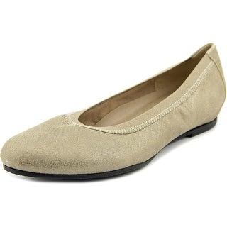 Munro American Ashlie Women Round Toe Canvas Gold Flats