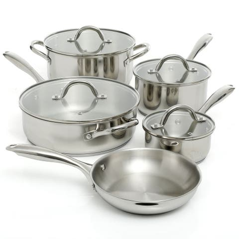 Oster Cuisine Saunders 9 Piece Cookware Set in Silver Mirror Polish