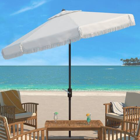 SAFAVIEH Outdoor Living Milan Fringe 11Ft Round Crank Umbrella