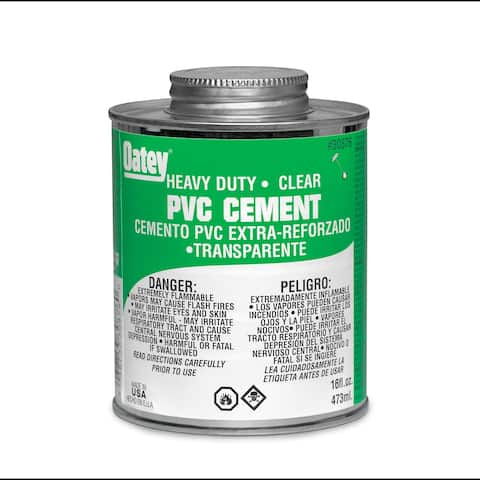 Oatey 30876 Heavy-Duty PVC Solvent Cement, 16 Oz, Clear