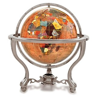 4 in. Gemstone Globe with Antique Silver Commander 3-Leg Table