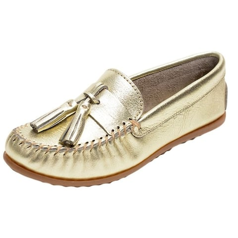 Minnetonka Shoes Womens Grace Moc Slip On Leather Tassels Gold