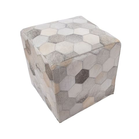 "Noori Home Geometric Hide Pouf Eli, Ivory (18""x18""x18"")"