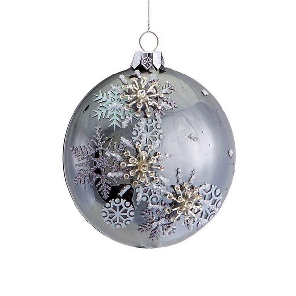 """3.5"""" Shiny Pewter Gray Beaded 3D Snowflake Christmas Disc Ornament"""