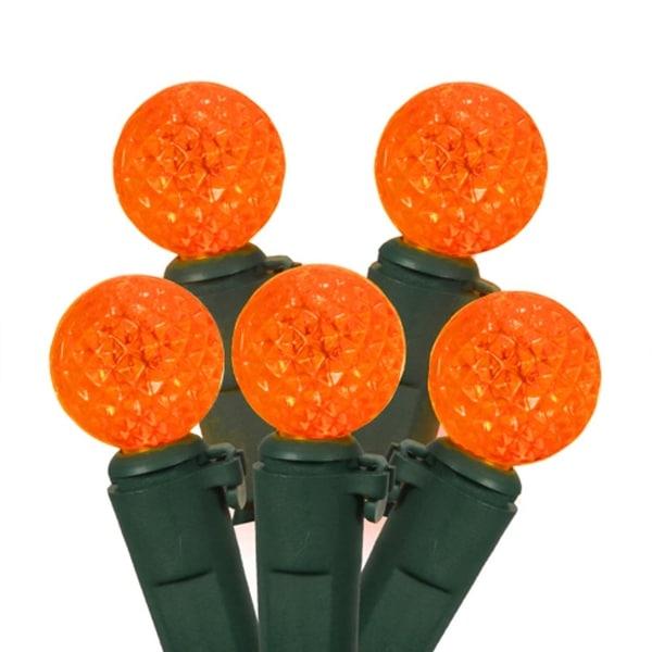 Set of 50 Orange LED G12 Berry Fashion Glow Christmas Lights - Green Wire