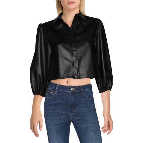 Alexie Womens Rayco Jacket Faux Leather Puff Sleeves - Black