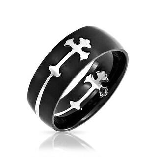 Mens Religious Maltase Fleur De Lis Cross Black Puzzle Wedding Band Ring For Men Silver Tone Stainless Steel