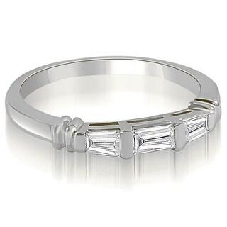14kt White Gold 0.33 CT.TW Antique 3-Stone Bar Set Baguette Diamond Wedding Ring HI, SI1-2 - White H-I