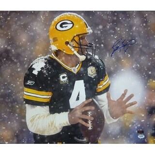 Brett Favre Autographed Green Bay Packers 20x24 Photo Snow PSADNA