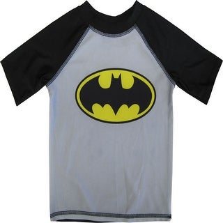DC Comics Little Boys Black Grey Batman Logo Rash Guard Swimwear Shirt 2-4T