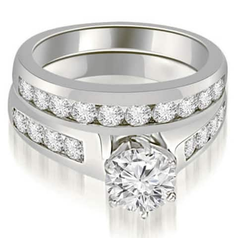 2.15 CT Channel Round Cut Diamond Matching Bridal Set in 14KT Gold - White H-I