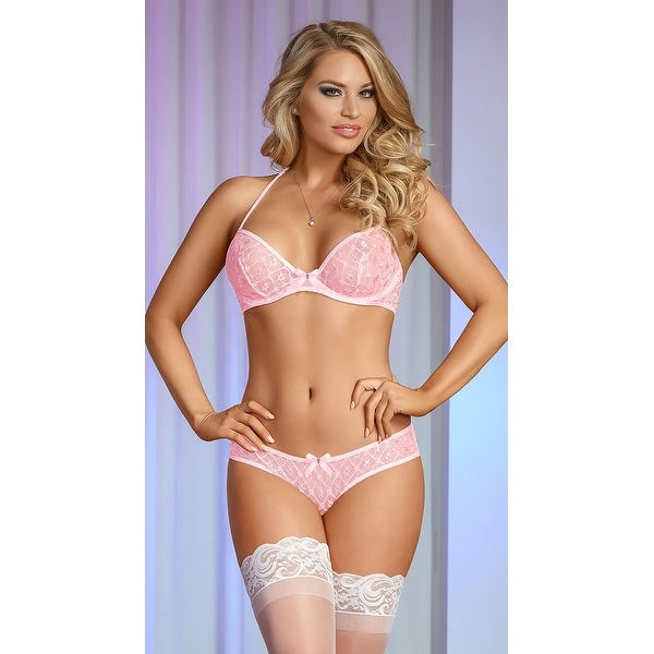 b9253b94ef Shop Pearly Pink And Silver Lace Bra Set