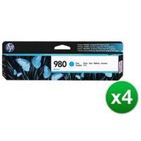 HP 980 Cyan Original Ink Cartridge (D8J07A)(4-Pack)