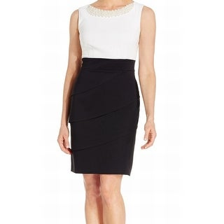 Connected Apparel NEW Black White Women 8 Tiered Embellish Sheath Dress