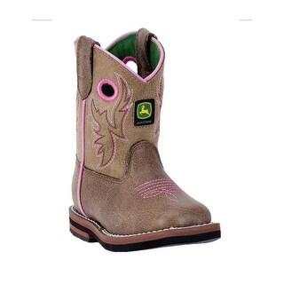 John Deere Western Boots Girls Kids Broad Toe Leather Brown JD1021