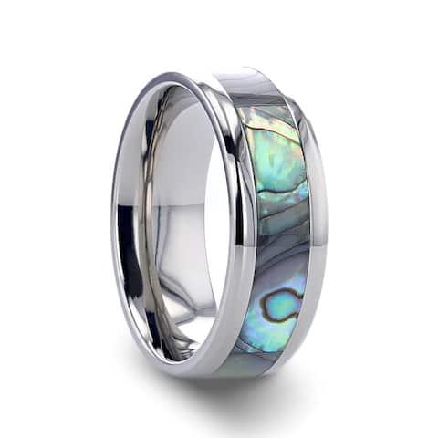 Thorsten Kaui Titanium Rings for Men Titanium Polished Finish Mother Of Pearl Inlaid Beveled Wedding Band - 8 mm