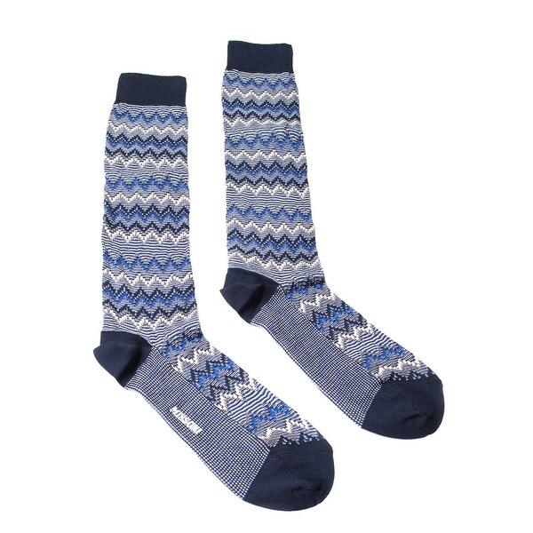 Missoni GM00CMU5445 0001 Blue/Cream Knee Length Socks