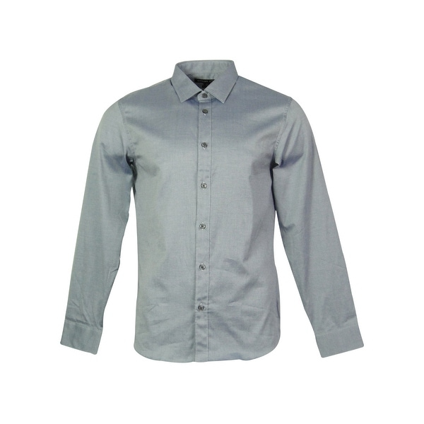 c1e4bbee7a2b34 Shop Michael Kors Men's Tailored Fit Front Button Shirt - Indigo - On Sale  - Free Shipping Today - Overstock - 15018833