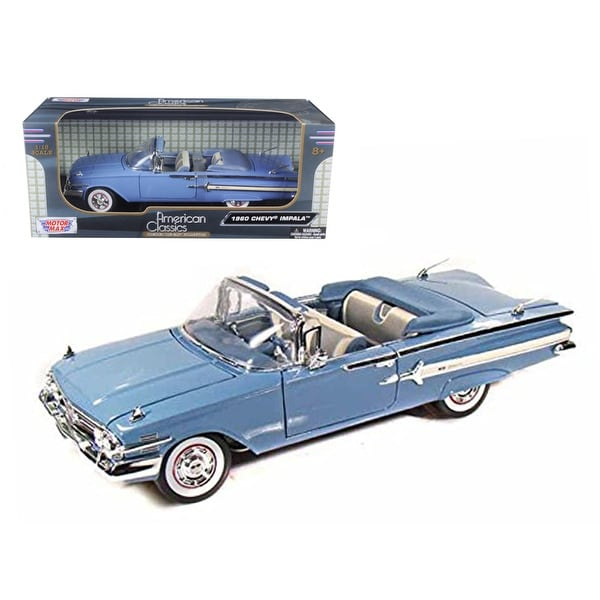 51d4946406 1960 Chevrolet Impala Convertible Blue 1/18 Diecast Car Model by Motormax