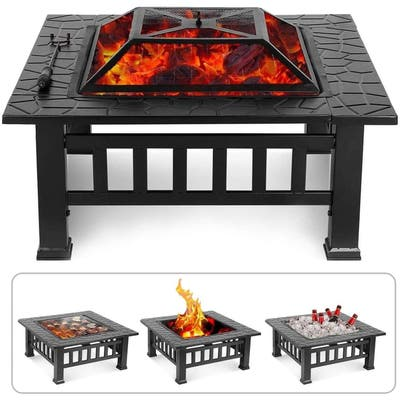 Pyramid Home Decor Portable Fire Pit Outdoor Wood Burning and Grill