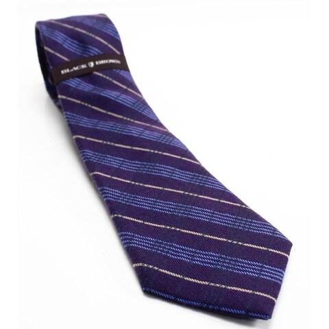 Black Brown 2776 NEW Purple Violet Textured Woven Plaid Men's Wool Tie