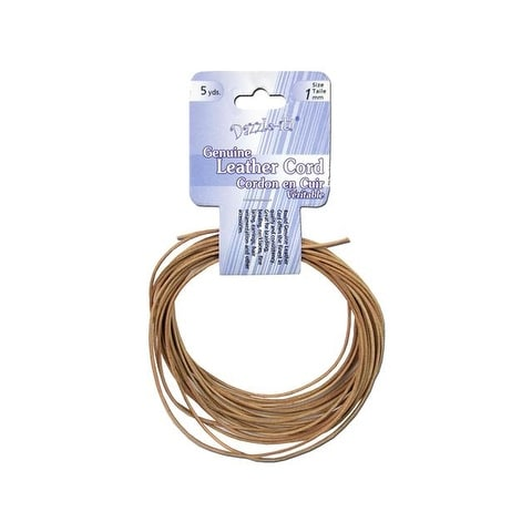 Dazzle It Leather Cord 1mm Rnd 5yd Natural