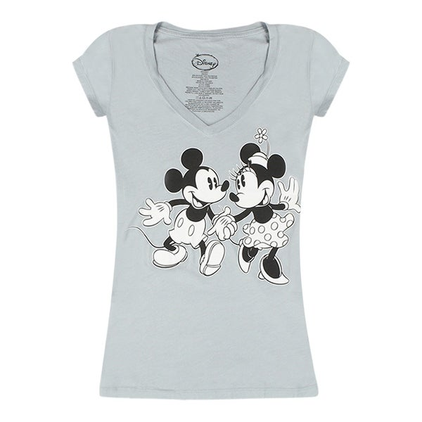 2b4ae51d4 Shop Disney Mickey Mouse and Minnie Mouse in love Women's Grey T-shirt -  Free Shipping On Orders Over $45 - Overstock - 17063877
