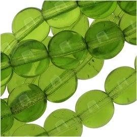 Czech Glass Druk Round Beads 8mm Olivine Green (25)