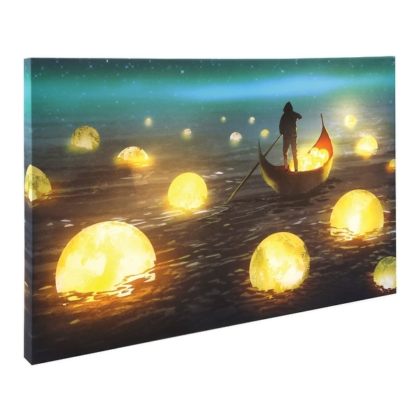 "What on Earth Floating Moons LED Lighted Canvas - Glowing Gondola Wall Art, 15 3/4"" x 23 1/2"" - 15.75 in. x 23.5 in. x 1.5 in."