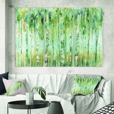 Designart 'The birch Forest II' Traditional Canvas Artwork
