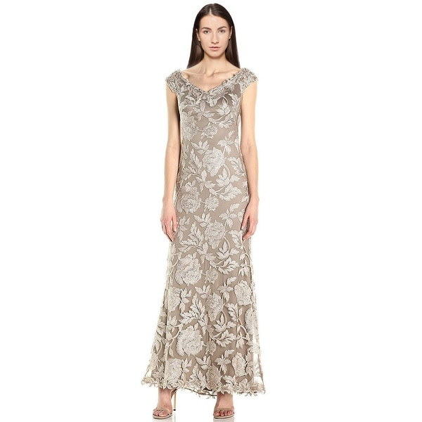 0b4fcea0e3cb Tadashi Shoji Off Shoulder Floral Embroidered Evening Gown Dress - 8