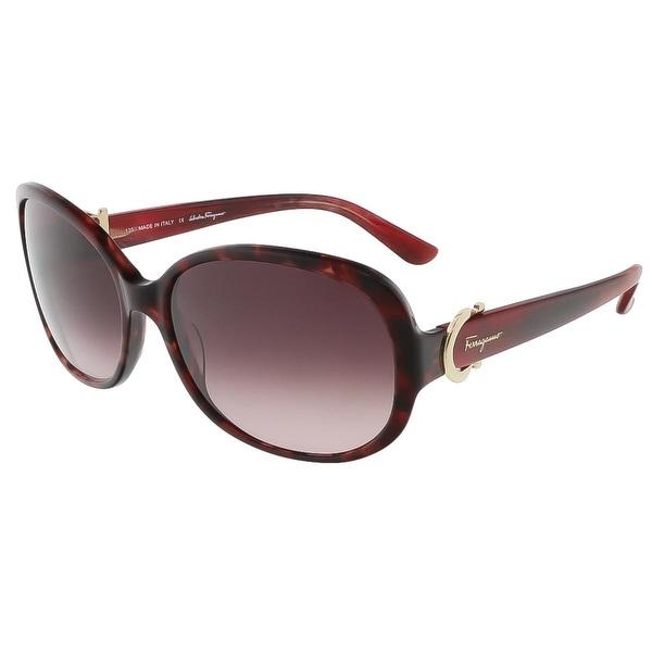 Salvatore Ferragamo Womens Oval Sunglasses Oversized Fashion - red havana - o/s