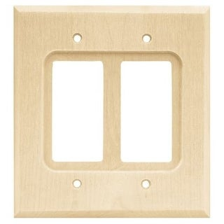 Franklin Brass W10400-C Wood Square Double Rocker / GFI Outlet Wall Plate - unfinished wood