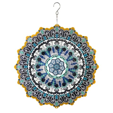 Exhart Laser Cut Hanging Wind Spinner with Bead Details, 12 Inch