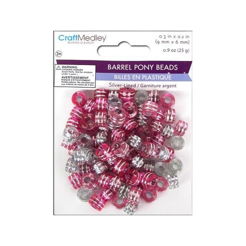 Multicraft Pony Bead 9x6mm 25gm Barrel Pink