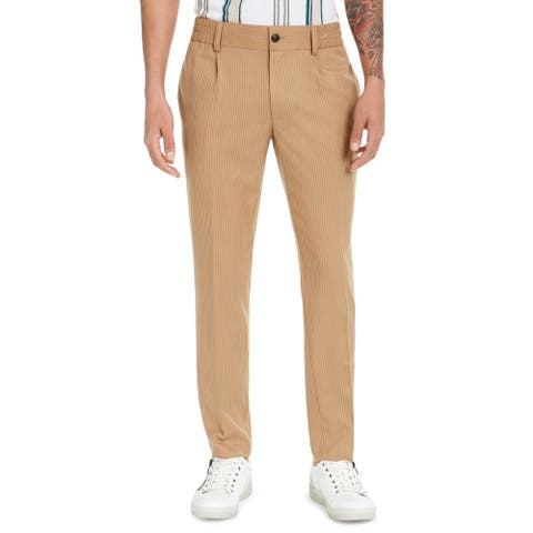 INC Mens Pants Beige Size Large L Pinstripe Pleated Tapered-Fit Stretch