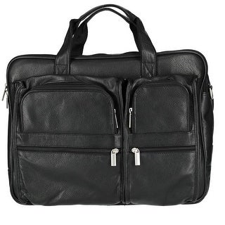 CTM® Men's Tumble Leather Double Gusset Briefcase with Laptop Compartment