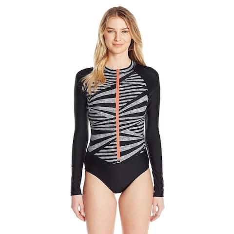 Speedo Women's Long Sleeve One Piece Swimsuit, Speedo Black, SZ MEDIUM